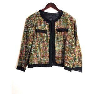 🔸Spiegel multicolor tweed open blazer jacket